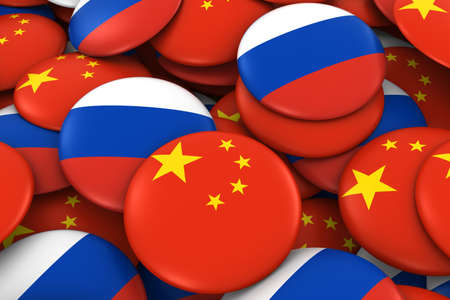 russian flag: China and Russia Badges Background - Pile of Chinese and Russian Flag Buttons 3D Illustration