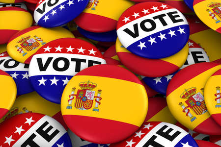 spanish flag: Spain Elections Concept - Spanish Flag and Vote Badges 3D Illustration
