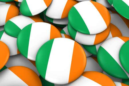 irish flag: Ireland Badges Background - Pile of Irish Flag Buttons 3D Illustration