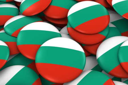 Bulgaria Badges Background - Pile of Bulgarian Flag Buttons 3D Illustration