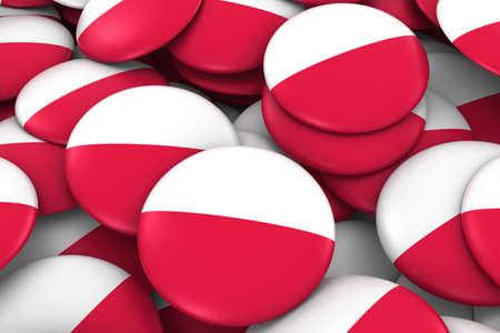 bandera de polonia: Poland Badges Background - Pile of Polish Flag Buttons 3D Illustration Foto de archivo