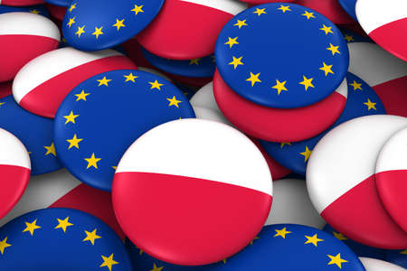 polish flag: Poland and Europe Badges Background - Pile of Polish and European Flag Buttons 3D Illustration