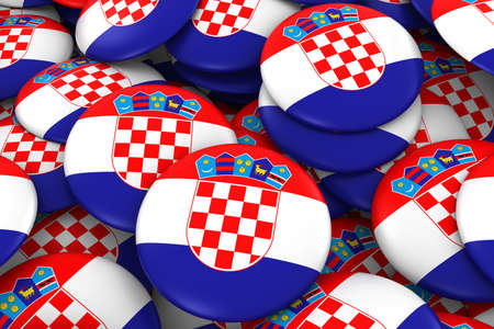 Croatia Badges Background - Pile of Croatian Flag Buttons 3D Illustration