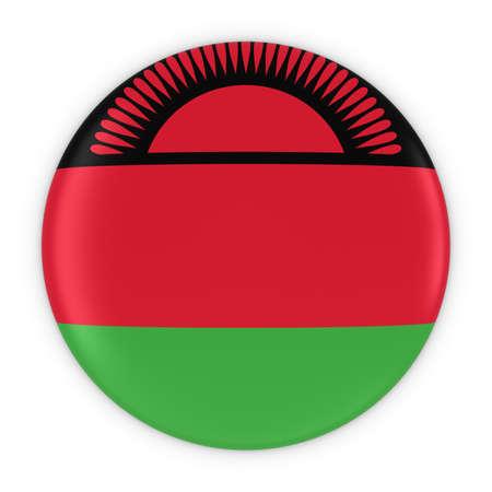 malawian: Malawian Flag Button - Flag of Malawi Badge 3D Illustration