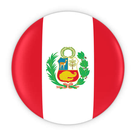 three dimensional shape: Peruvian Flag Button - Flag of Peru Badge 3D Illustration Stock Photo