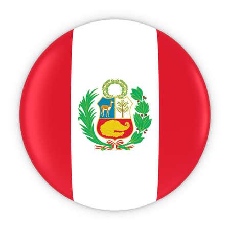 Peruvian Flag Button - Flag of Peru Badge 3D Illustration Stock Photo
