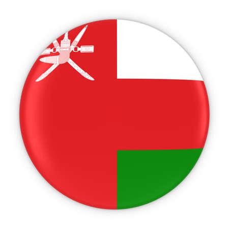 Omani Flag Button - Flag of Oman Badge 3D Illustration