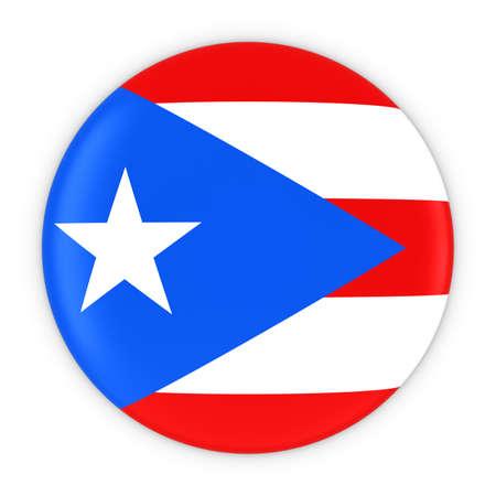 bandera de puerto rico: Bandera de Puerto Rico Botón - Bandera de la ilustración de Puerto Rico insignia 3D