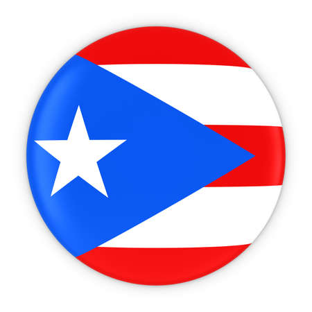 puerto rican: Puerto Rican Flag Button - Flag of Puerto Rico Badge 3D Illustration