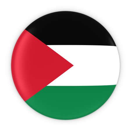 palestinian: Palestinian Flag Button - Flag of Palestine Badge 3D Illustration Stock Photo