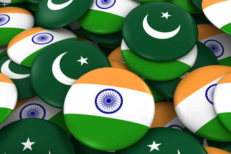 India and Pakistan Badges Background - Pile of Indian and Pakistani Flag Buttons 3D Illustration Stock Photo