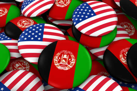 afghan: Afghanistan and USA Badges Background - Pile of Afghan and US Flag Buttons 3D Illustration