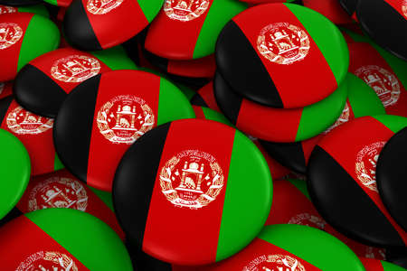 afghan: Afghanistan Badges Background - Pile of Afghan Flag Buttons 3D Illustration