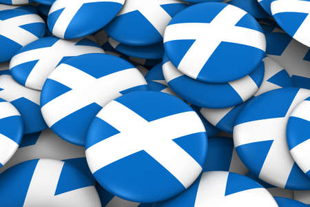 scottish flag: Scotland Badges Background - Pile of Scottish Flag Buttons 3D Illustration