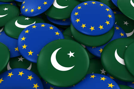 flag of pakistan: Pakistan and Europe Badges Background - Pile of Pakistani and European Flag Buttons 3D Illustration