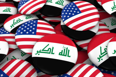 iraqi: Iraq and USA Badges Background - Pile of Iraqi and US Flag Buttons 3D Illustration Stock Photo