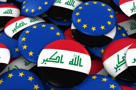 iraqi: Iraq and Europe Badges Background - Pile of Iraqi and European Flag Buttons 3D Illustration