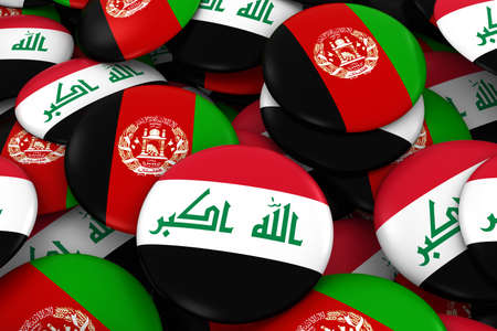 iraqi: Iraq and Afghanistan Badges Background - Pile of Iraqi and Afghan Flag Buttons 3D Illustration Stock Photo