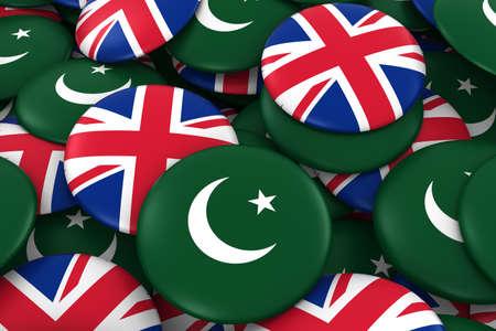 pakistani pakistan: Pakistan and UK Badges Background - Pile of Pakistani and British Flag Buttons 3D Illustration Stock Photo