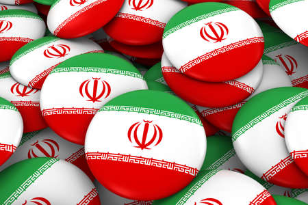 iranian: Iran Badges Background - Pile of Iranian Flag Buttons 3D Illustration