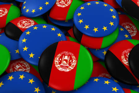 afghan: Afghanistan and Europe Badges Background - Pile of Afghan and European Flag Buttons 3D Illustration