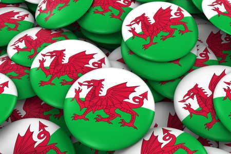 wales: Wales Badges Background - Pile of Welsh Flag Buttons 3D Illustration