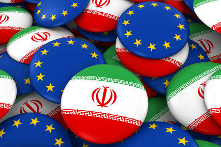 iranian: Iran and Europe Badges Background - Pile of Iranian and European Flag Buttons 3D Illustration