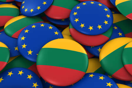 Lithuania and Europe Badges Background - Pile of Lithuanian and European Flag Buttons 3D Illustration Stock Photo