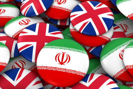 iranian: Iran and UK Badges Background - Pile of Iranian and British Flag Buttons 3D Illustration