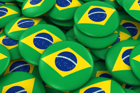 brazilian flag: Brazil Badges Background - Pile of Brazilian Flag Buttons 3D Illustration