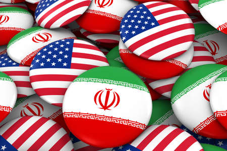 iranian: Iran and USA Badges Background - Pile of Iranian and US Flag Buttons 3D Illustration