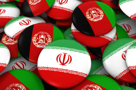 Iran and Afghanistan Badges Background - Pile of Iranian and Afghan Flag Buttons 3D Illustration