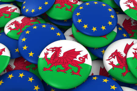welsh flag: Wales and Europe Badges Background - Pile of Welsh and European Flag Buttons 3D Illustration Archivio Fotografico