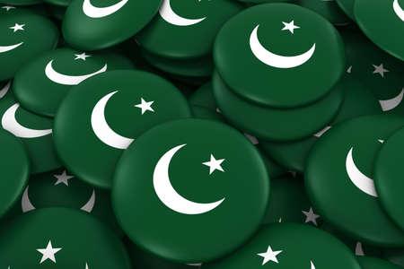 pakistani pakistan: Pakistan Badges Background - Pile of Pakistani Flag Buttons 3D Illustration