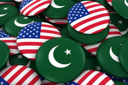pakistani pakistan: Pakistan and USA Badges Background - Pile of Pakistani and US Flag Buttons 3D Illustration Stock Photo