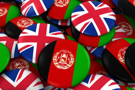 Afghanistan and UK Badges Background - Pile of Afghan and British Flag Buttons 3D Illustration