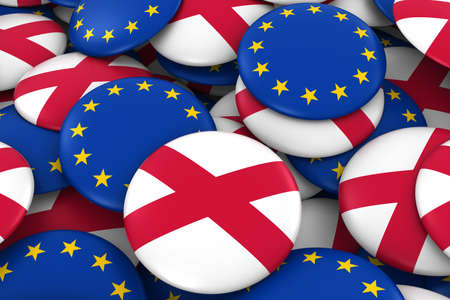 northern: Northern Ireland and Europe Badges Background - Pile of Northern Irish and European Flag Buttons 3D Illustration Stock Photo
