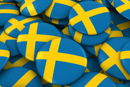 swedish: Sweden Badges Background - Pile of Swedish Flag Buttons 3D Illustration