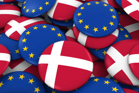 danish: Denmark and Europe Badges Background - Pile of Danish and European Flag Buttons 3D Illustration