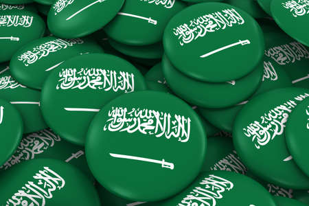 saudi: Saudi Arabia Badges Background - Pile of Saudi Arabian Flag Buttons 3D Illustration