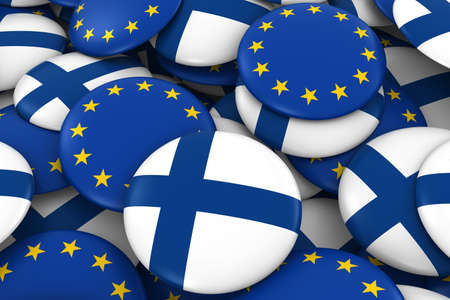 finnish: Finland and Europe Badges Background - Pile of Finnish and European Flag Buttons 3D Illustration