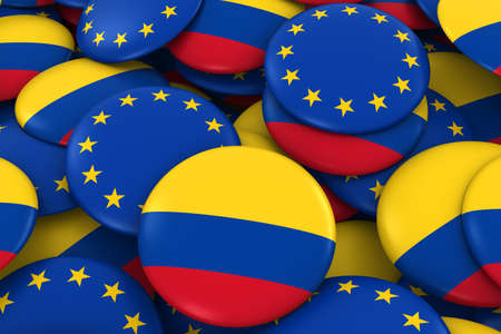 colombian: Colombia and Europe Badges Background - Pile of Colombian and European Flag Buttons 3D Illustration