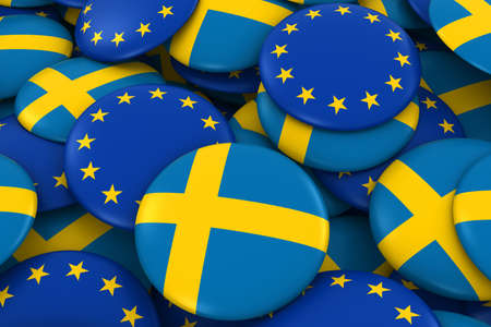 swedish: Sweden and Europe Badges Background - Pile of Swedish and European Flag Buttons 3D Illustration