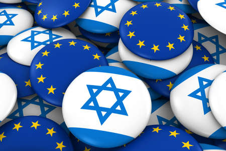 israeli: Israel and Europe Badges Background - Pile of Israeli and European Flag Buttons 3D Illustration Stock Photo