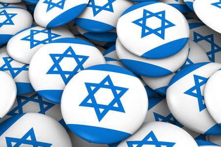 israeli flag: Israel Badges Background - Pile of Israeli Flag Buttons 3D Illustration