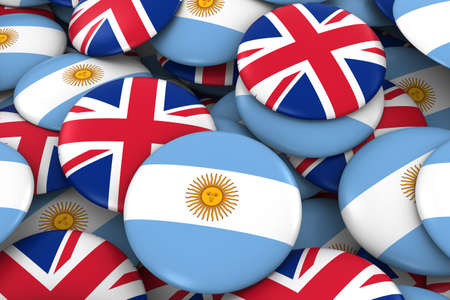 argentinian: Argentina and UK Badges Background - Pile of Argentinian and British Flag Buttons 3D Illustration Stock Photo