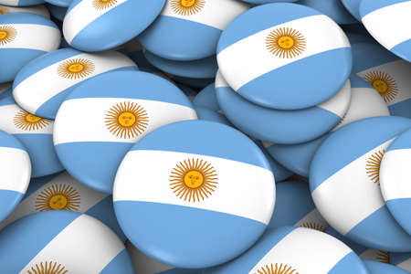 argentinian: Argentina Badges Background - Pile of Argentinian Flag Buttons 3D Illustration Stock Photo