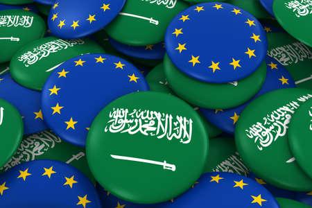 Saudi Arabia and Europe Badges Background - Pile of Saudi Arabian and European Flag Buttons 3D Illustration