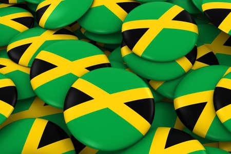 jamaican flag: Jamaica Badges Background - Pile of Jamaican Flag Buttons 3D Illustration