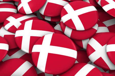 danish flag: Denmark Badges Background - Pile Danish Flag Buttons 3D Illustration